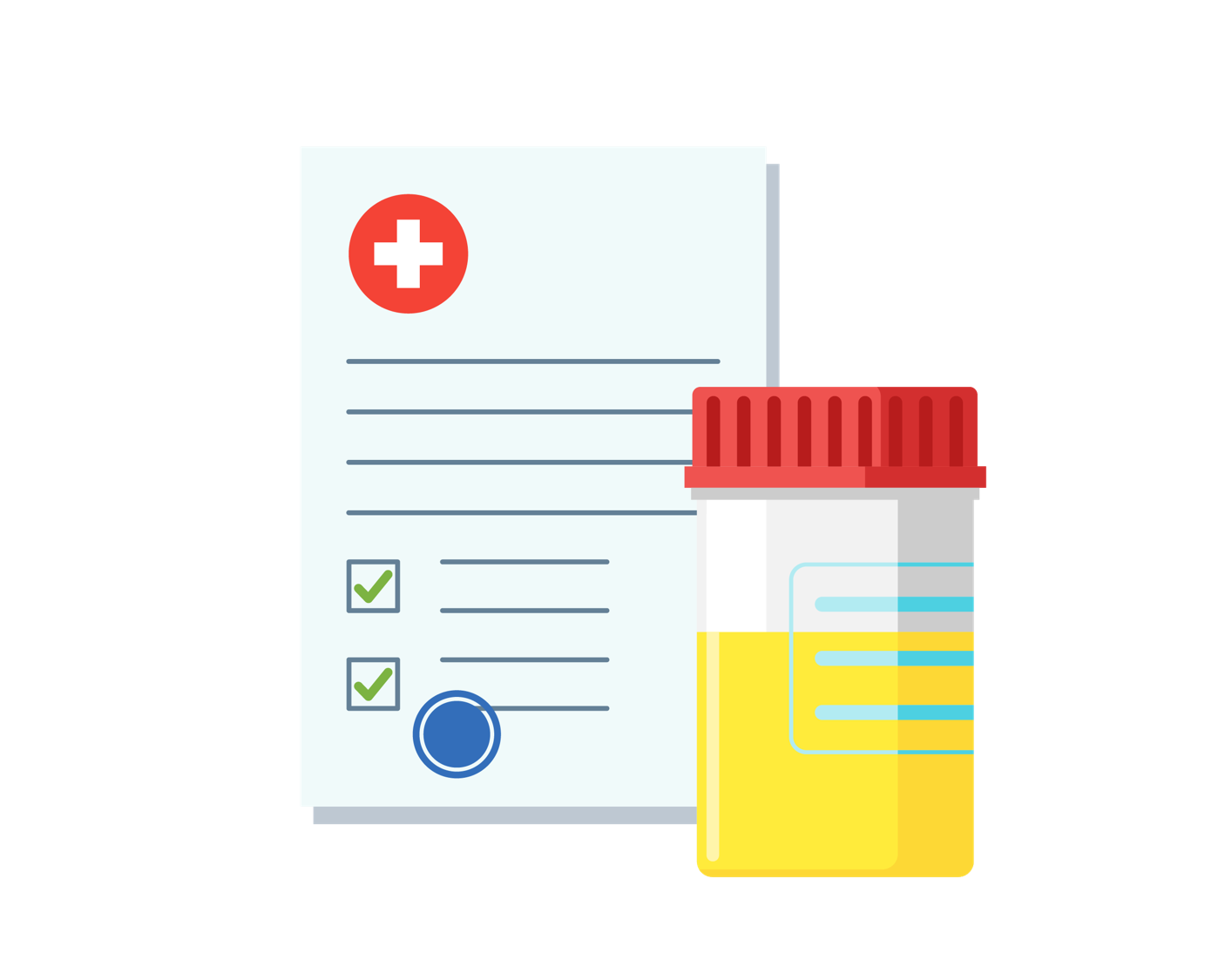 Icon of urine sample and form