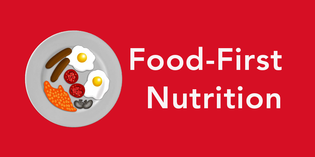 Animation of food on a plate with words 'Food-First Nutrition'