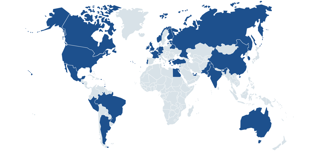 World Map showing countries that attended an event